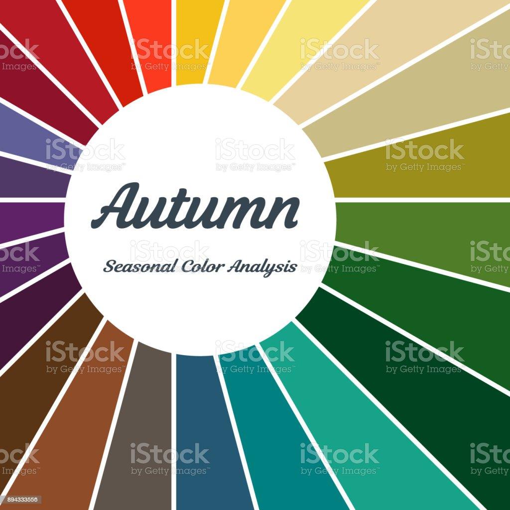 Saisonale Farbpalette Analyse Fur Herbsttyp Stock Vektor Art Und