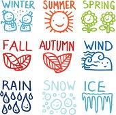 Seasonal doodle icon set
