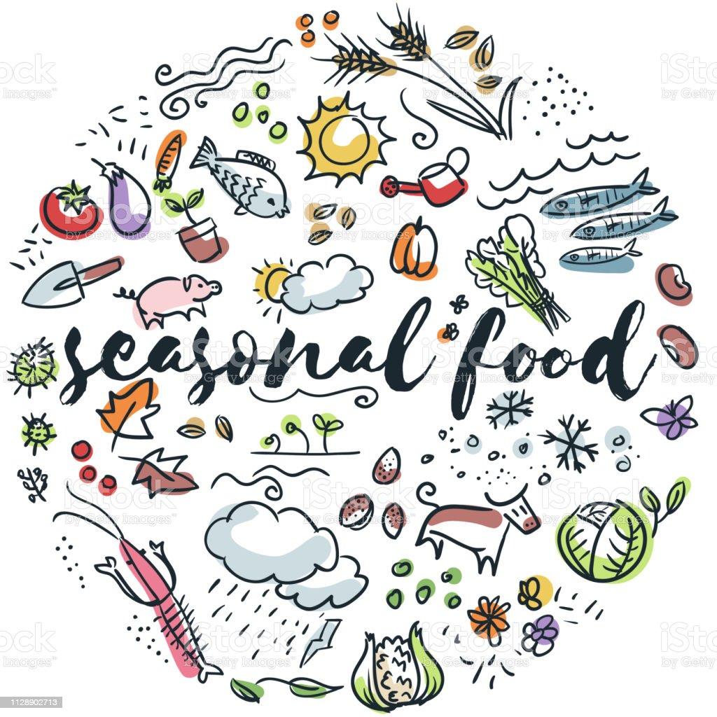 Saisonale Küche hand gezeichnete design – Vektorgrafik