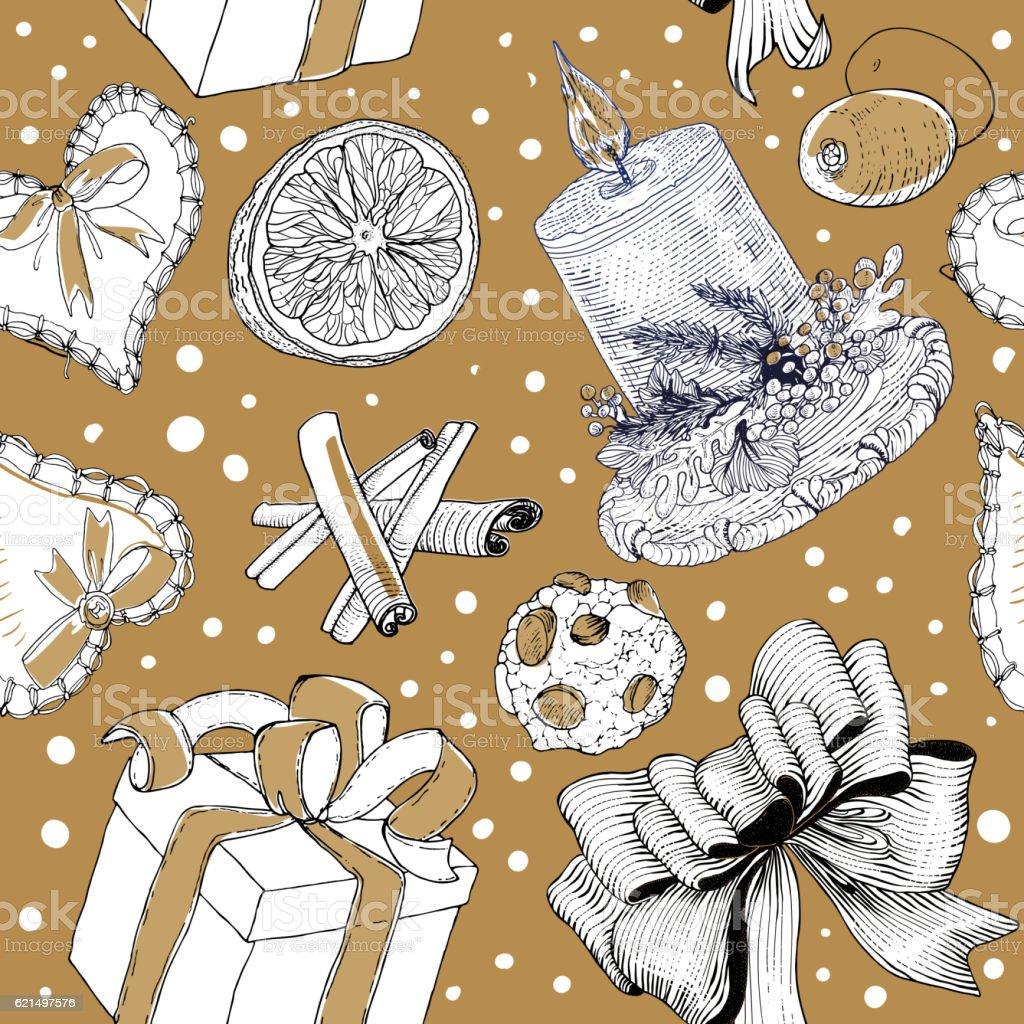 Seasonal hand drawn sketch pattern Lizenzfreies seasonal hand drawn sketch pattern stock vektor art und mehr bilder von geschenkkarton