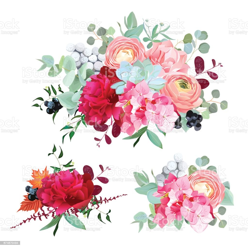 Seasonal mixed bouquets vector design set vector art illustration