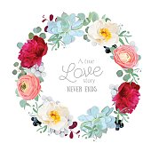 Seasonal mixed round frame with peony, ranunculus, succulents, wild rose, brunia, blackberries and eucalyptus leaves. Vector design set. All elements are isolated and editable.