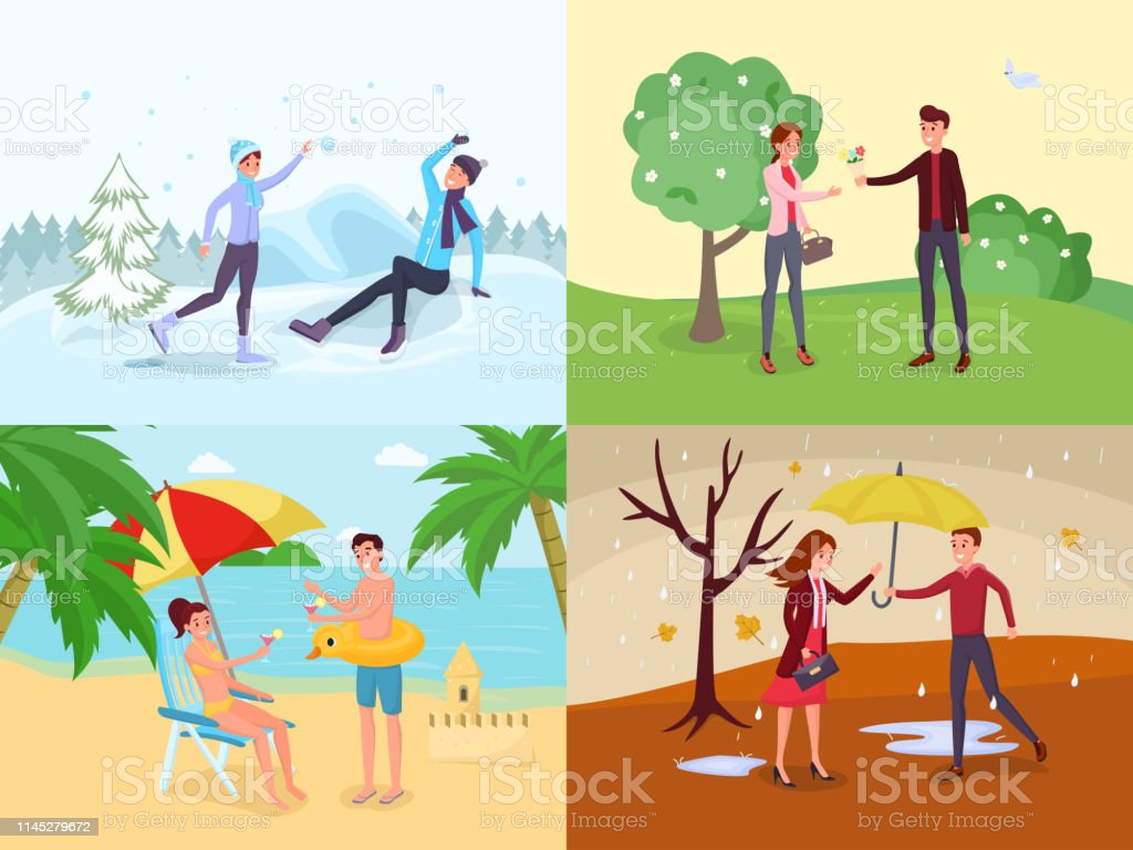 Seasonal Outdoor Activities Flat Illustrations Set Stock Illustration Download Image Now Istock