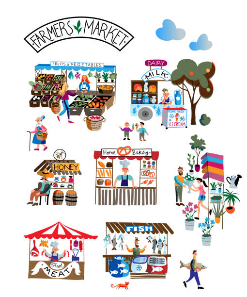 illustrazioni stock, clip art, cartoni animati e icone di tendenza di seasonal outdoor farmers market. buyers and sellers on local marketplace. people selling and shopping fresh milk, meat, fruits, vegetables, bakery. retail business, bazaar vector concept. - banchi di pesci