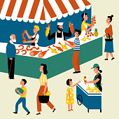 Seasonal outdoor market, street food festival. People walking between counters, buying farm products and goods. Buyers and sellers on marketplace. Cartoon vector flat illustration.