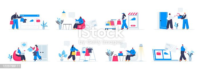Seasonal shopping set with people characters in various scenes and situations. People carrying shopping bags with purchases. Bundle of retail discount, promotion and online shopping in flat style.