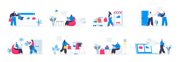 Seasonal shopping set with people characters in various scenes and situations. vector art illustration