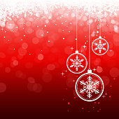 Vector of hanging Christmas baubles and snowflakes background. EPS Ai 10 file format.