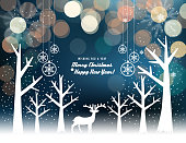 Vector of winter landscape background with reindeer silhouette. EPS Ai 10 file format.