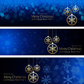 Vector of hanging Christmas baubles and snowflakes background pattern banner set. . EPS Ai 10 file format.