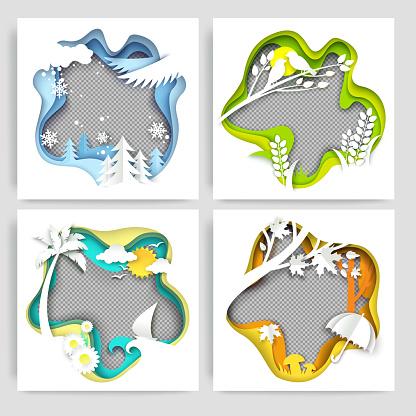 Seasonal social media story, post, poster, banner template set. Vector illustration in paper art style.