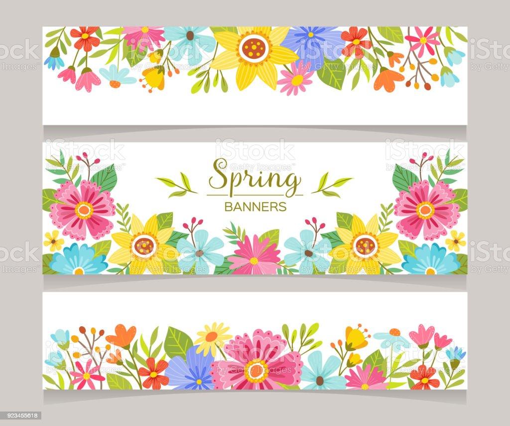 春の季節装飾バナー ベクターアートイラスト