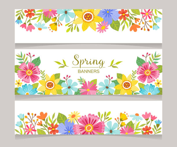 Seasonal Spring Decorative Banners Spring horizontal banner templates with colorful flowers background. Perfect for flyers, invitations, brochures, web banners and blogs decoration. Vector illustration. spring stock illustrations