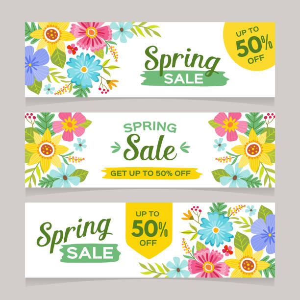 illustrations, cliparts, dessins animés et icônes de bannières de vente saisonnier printemps - printemps