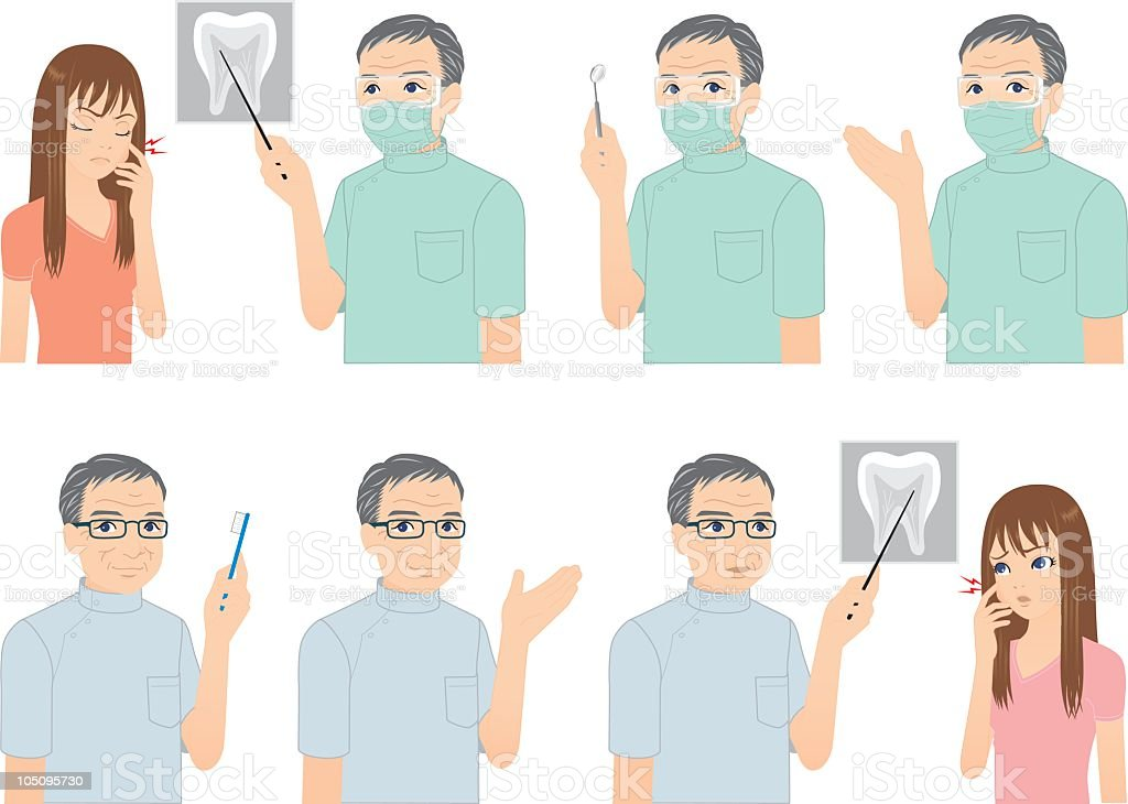 Seasoned Dentist and Patient. royalty-free stock vector art