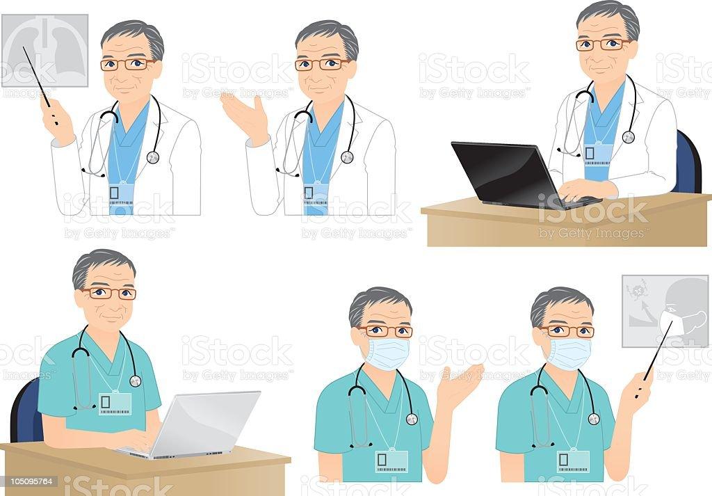 Seasoned Doctor. royalty-free stock vector art