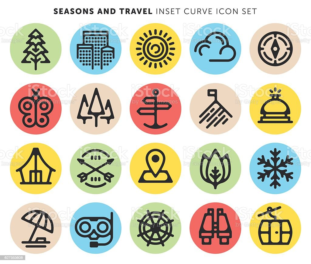 Seasons And Travel vector art illustration