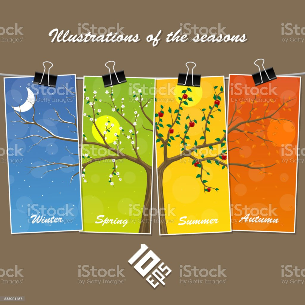 Seasons are suspended on clothespin vector art illustration