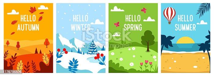 istock Seasons backgrounds. Autumn, Spring, Summer, Winter. Flat banners design template. A4. Vector 1176796826