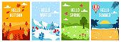 Seasons backgrounds. Autumn, Spring, Summer, Winter. Flat banners design template A4 Vector illustration