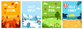 Seasons backgrounds. Autumn, Spring, Summer, Winter. Flat banners design template A4 Vector illustration