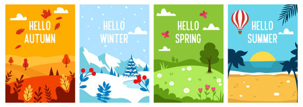 Seasons backgrounds. Autumn, Spring, Summer, Winter. Flat banners design template. A4. Vector Seasons backgrounds. Autumn, Spring, Summer, Winter. Flat banners design template A4 Vector illustration fall background stock illustrations