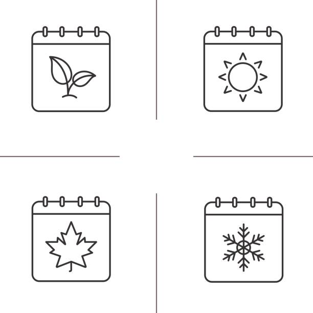 seasons calendars icons - cztery pory roku stock illustrations