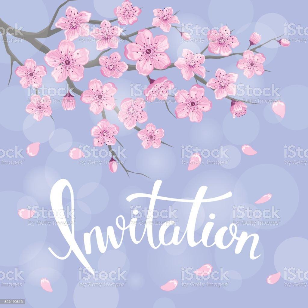 Jahreszeiten Gruß Hintergrund Mit Kirschblüten Blumen Zweigen Auf ...
