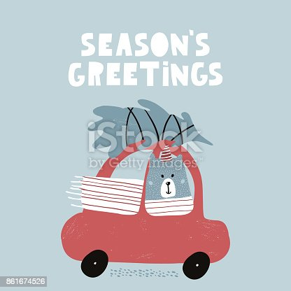 Seasons greeting quote cute winter greeting background with polar seasons greeting quote cute winter greeting background with polar bear holiday and christmas illustration it can be used for greeting card posters apparel m4hsunfo