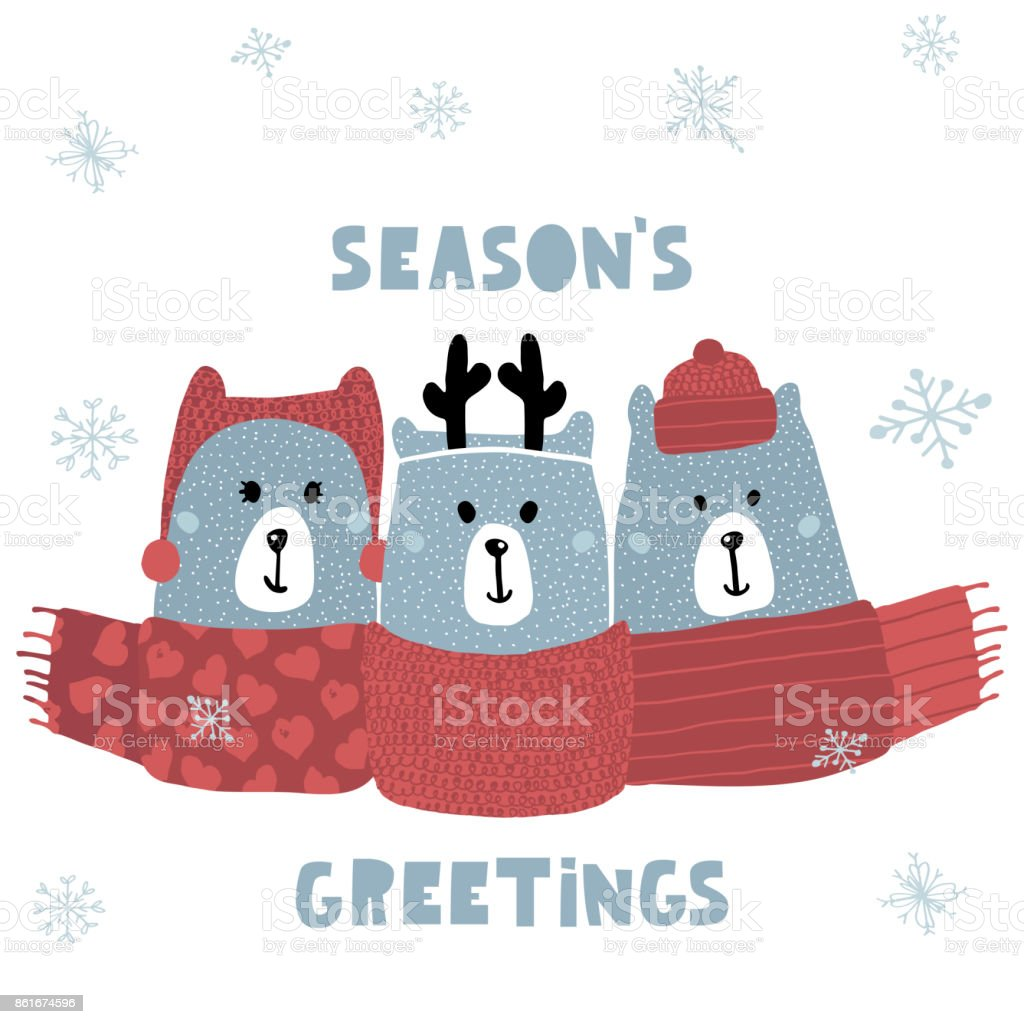 Seasons greeting quote cute winter greeting background with polar seasons greeting quote cute winter greeting background with polar bears holiday and christmas illustration m4hsunfo