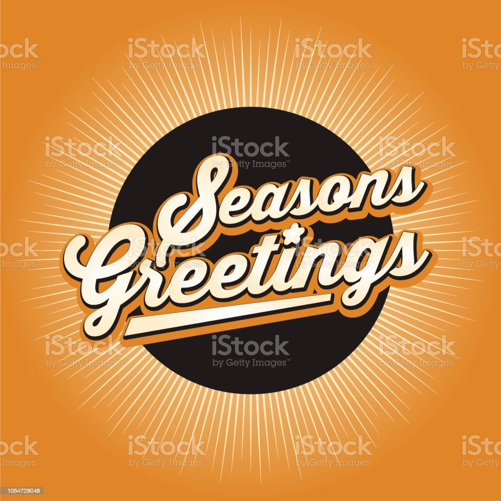 Seasons Greetings Banner Design With Color Starburst Background