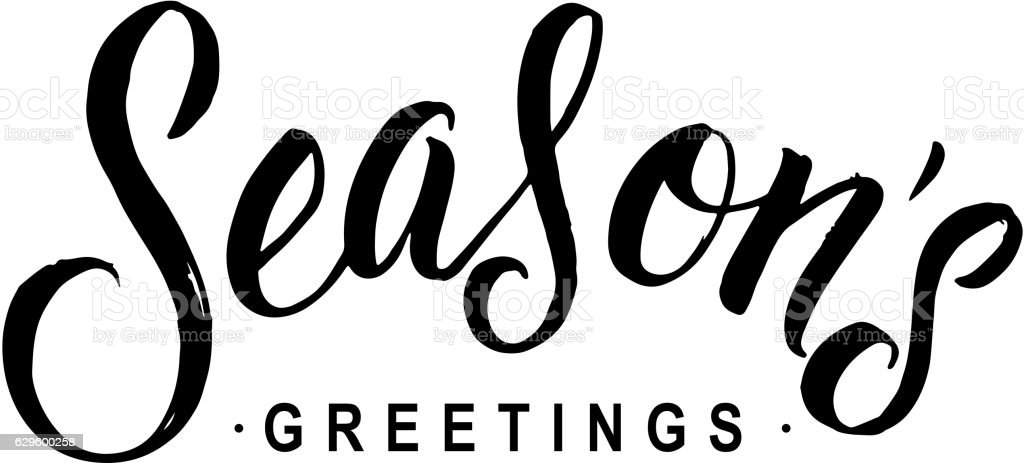 Seasons greetings calligraphy greeting card black typography on seasons greetings calligraphy greeting card black typography on white background royalty free seasons greetings kristyandbryce Image collections