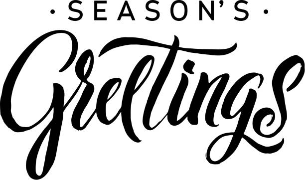 ilustraciones, imágenes clip art, dibujos animados e iconos de stock de seasons greetings calligraphy. greeting card black typography on white background - texto
