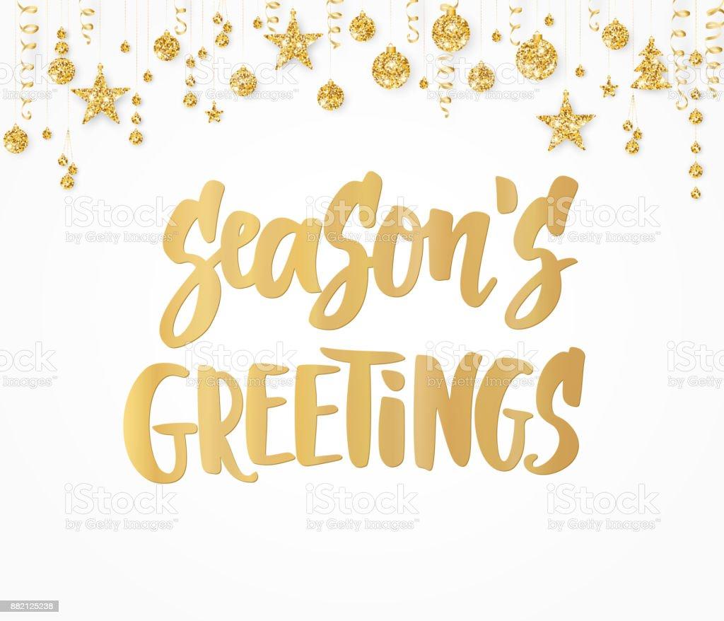 Seasons greetings card hand drawn lettering golden glitter border seasons greetings card hand drawn lettering golden glitter border with hanging balls great m4hsunfo