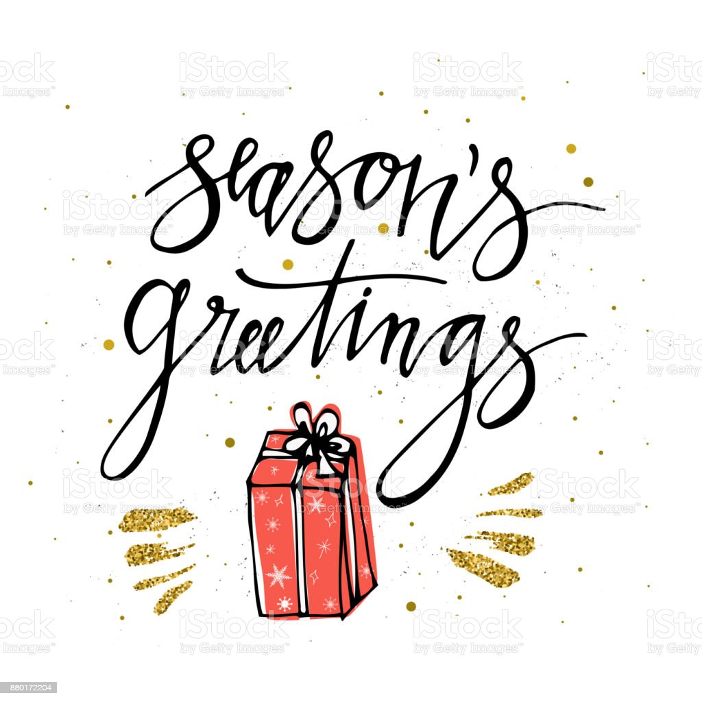 Seasons greetings card with christmas present gold glitter elements seasons greetings card with christmas present gold glitter elements hand lettering calligraphic inscription by m4hsunfo