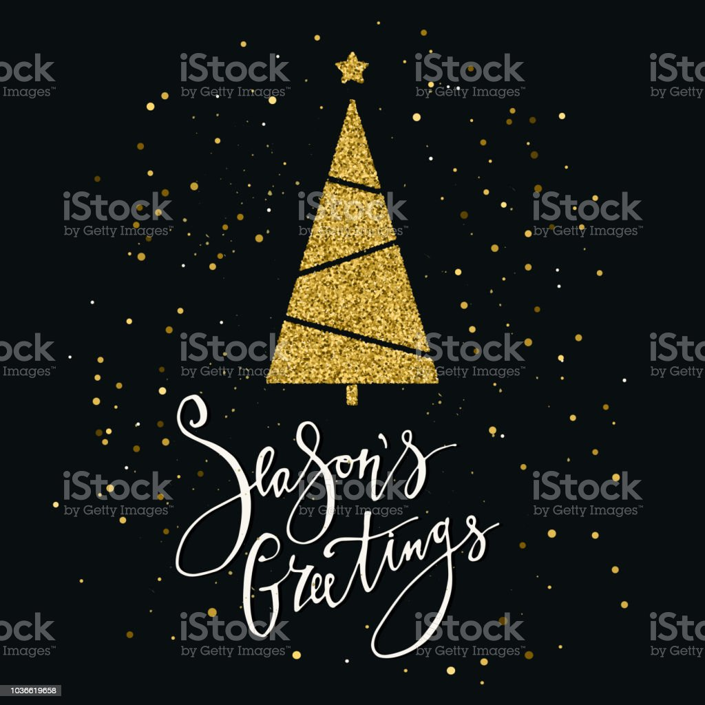 seasons greetings card with gold glitter christmas tree and snowflake modern lettering new year