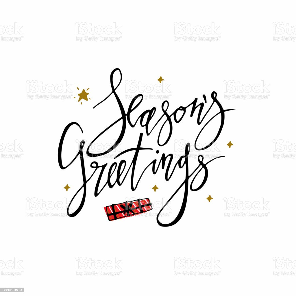 Seasons greetings card with stars and christmas present hand seasons greetings card with stars and christmas present hand lettering calligraphic inscription by brush for m4hsunfo Image collections