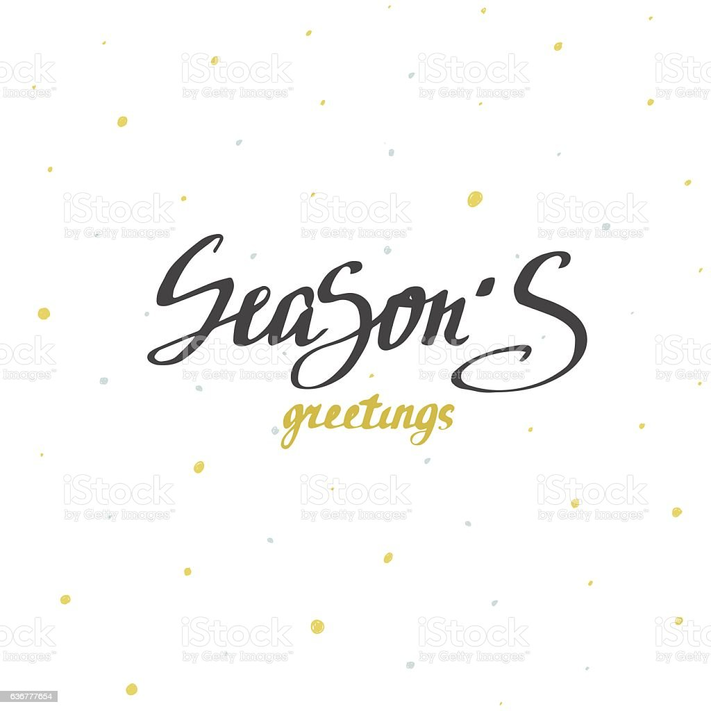 Seasons Greetings Christmas Calligraphy Handwritten Modern Brush