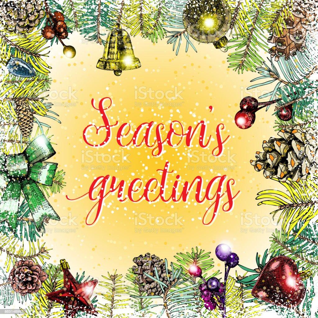 Seasons Greetings Christmas Greeting Card With Calligraphy