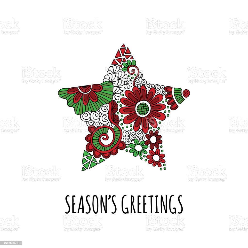 Season's Greetings Christmas Star doodle Hand Drawn Vector vector art illustration