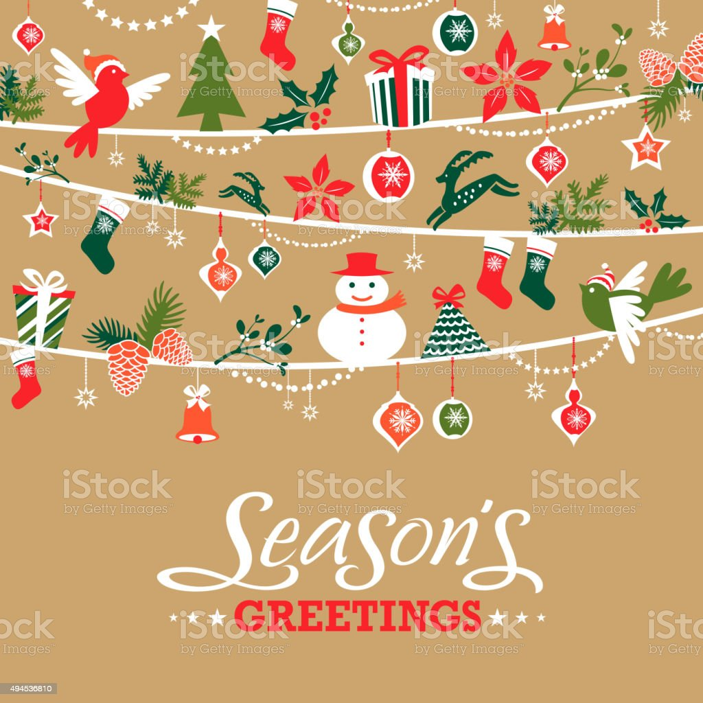 Seasons Greetings Graphic Elements Stock Vector Art More Images Of