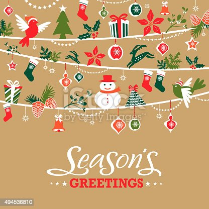 Christmas graphic elements in a row, elements including christmas present, handbell, snowman, bell, reindeer, poinsettia, pine cone, christmas stocking, bird, christmas tree, star and snowflake.