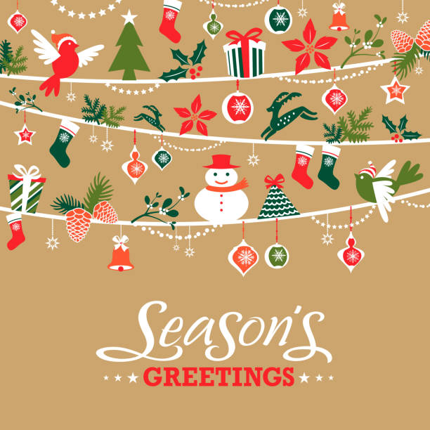 bildbanksillustrationer, clip art samt tecknat material och ikoner med season's greetings graphic elements - christmas decorations