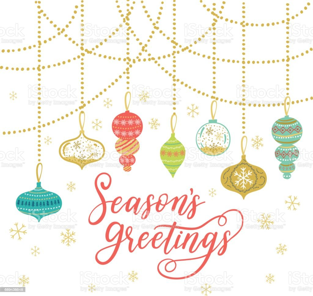 Seasons Greetings Greeting Card Vector Winter Holiday Background