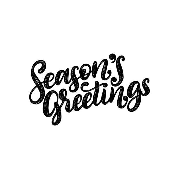 Seasons Greetings, hand lettering on red background. Vector Christmas illustration. Happy Holidays greeting card,poster. Seasons Greetings, hand lettering on red background. Vector Christmas illustration. Happy Holidays greeting card, poster template. text stock illustrations