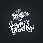 Seasons Greetings, hand lettering on black background. Vector Christmas illustration of mistletoe branch. Happy Holidays greeting card, poster template.