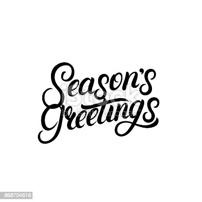 istock Seasons Greetings hand written lettering design. Modern brush calligarphy for Christmas card. 868704616