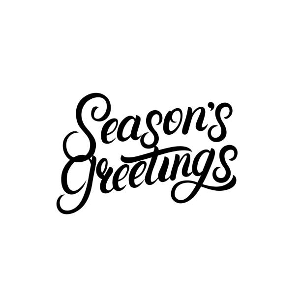 seasons greetings hand written lettering design. modern brush calligarphy for christmas card. - text stock illustrations, clip art, cartoons, & icons