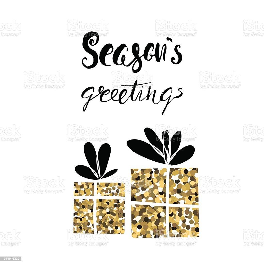 Seasons Greetings Handwritten Vector Christmas Calligraphy Stock