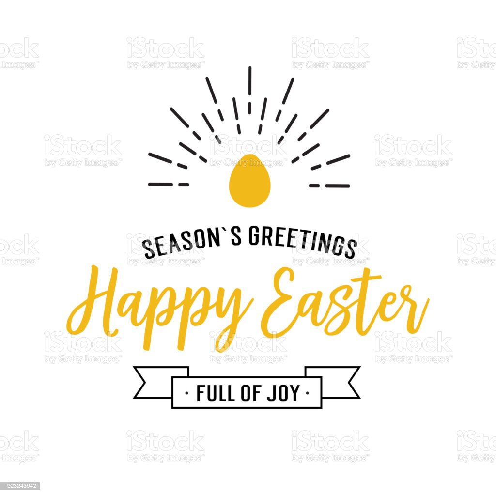 Seasons Greetings Happy Easter Lettering Stock Vector Art More